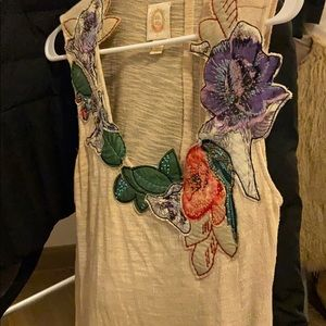Anthropology top patch flowers